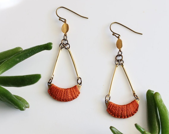CLEMENTINE- thread wrapped statement earrings- fiber, statement, crescent, chain