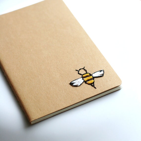 Bee- *LINED* hand embroidered moleskine pocket notebook