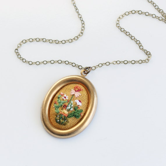 Cactus bouquet- hand embroidered necklace, desert, delicate, cacti, floral