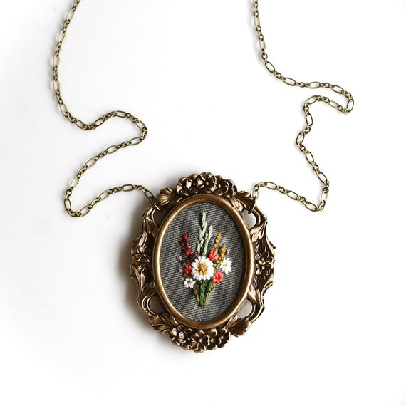 White Poppy- hand embroidered necklace, floral, bouquet, coral, wine, mustard, mint, lavender