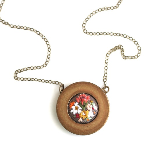 Protea- hand embroidered necklace, floral, bouquet