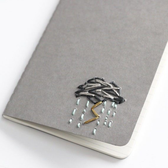 Stormy raincloud- hand embroidered moleskine pocket notebook