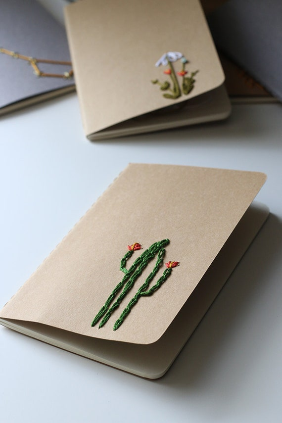 Cactus- *LINED* hand embroidered moleskine pocket notebook