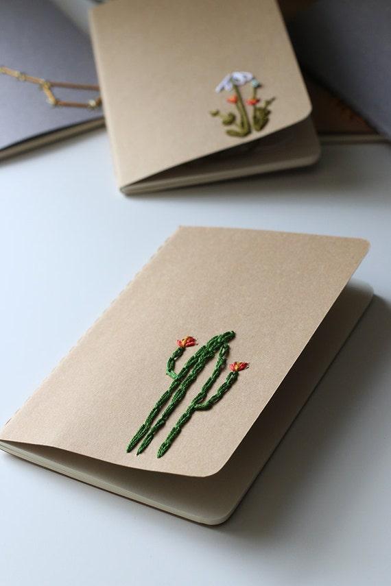 Cactus- *LINED* hand embroidered moleskine pocket notebook