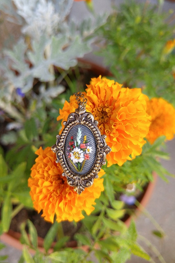 Lil White Poppy- hand embroidered necklace, floral, bouquet, coral, wine, mustard, mint, lavender