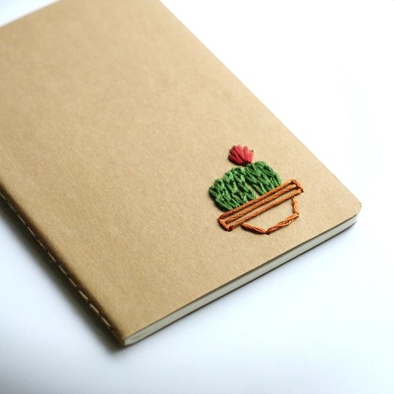 Potted Cactus- hand embroidered moleskine pocket notebook