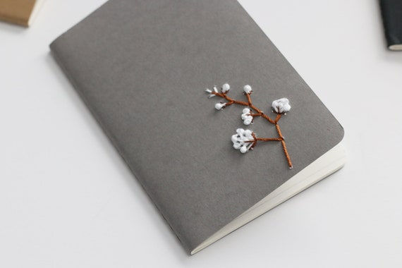 Cotton- hand embroidered moleskine pocket notebook