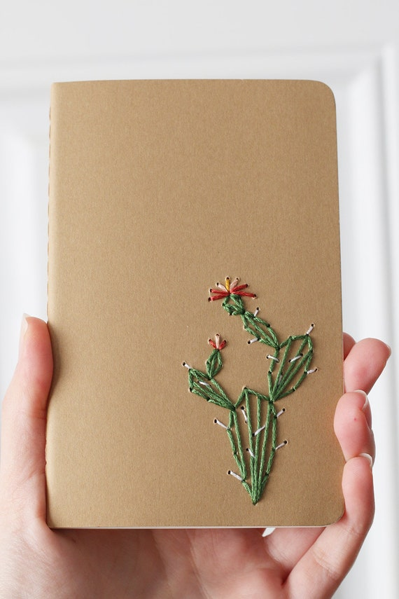 Prickly pear cactus- hand embroidered moleskine pocket notebook