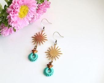 NOVA- thread wrapped statement earrings- fiber, statement