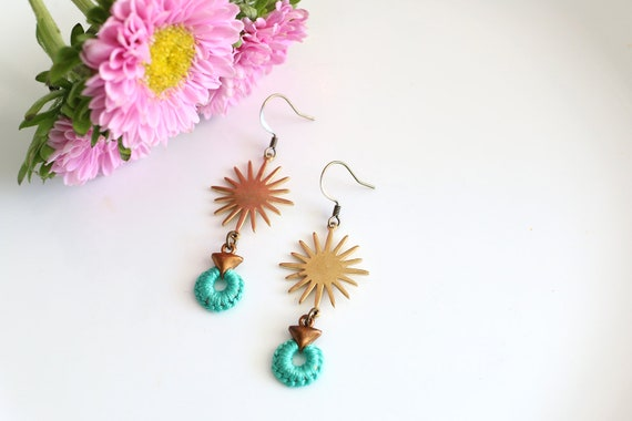 NOVA- thread wrapped statement earrings- fiber, statement