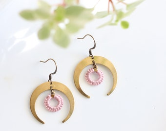 ECLIPSE- thread wrapped statement earrings- fiber, statement