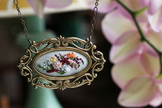 Farmer's Market Bouquet No. 5- hand embroidered necklace, white, floral, wildflowers, flowers