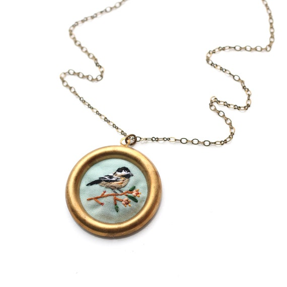 Chickadee- hand embroidered necklace, delicate, bird, branch
