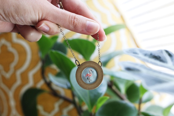 Flamingo- hand embroidered necklace, bird, pink, feathers, summer