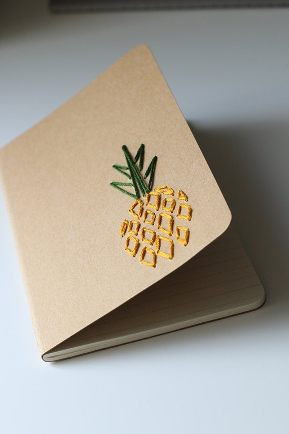Pineapple- hand embroidered moleskine pocket notebook