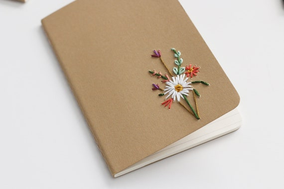 White Dahlia- hand embroidered moleskine pocket notebook