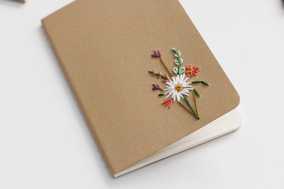 White Dahlia- hand embroidered moleskine pocket notebook