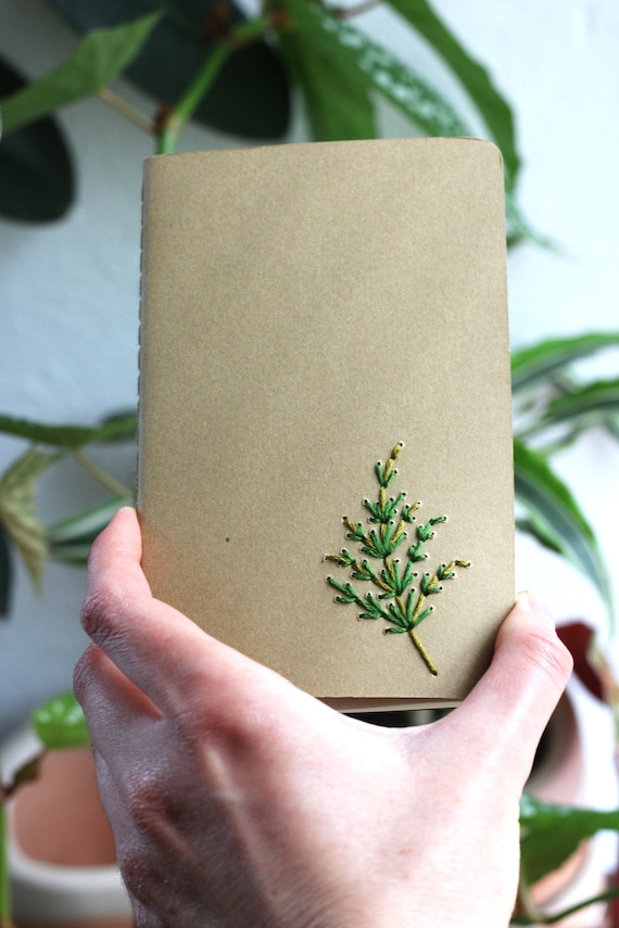 Fern frond- hand embroidered moleskine pocket notebook