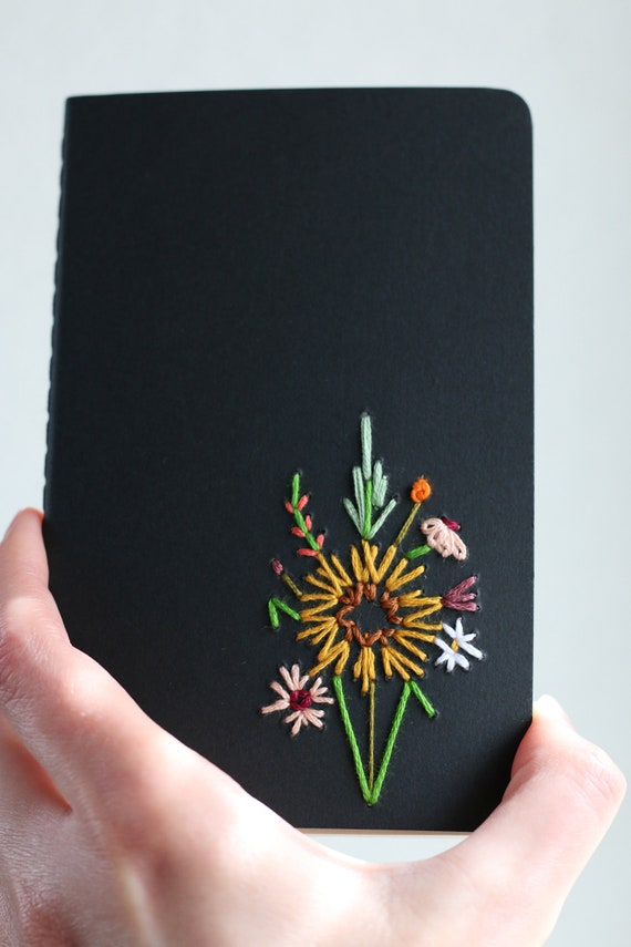 Sunflower- hand embroidered moleskine pocket notebook