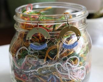 SELENE- thread wrapped statement earrings- fiber, statement