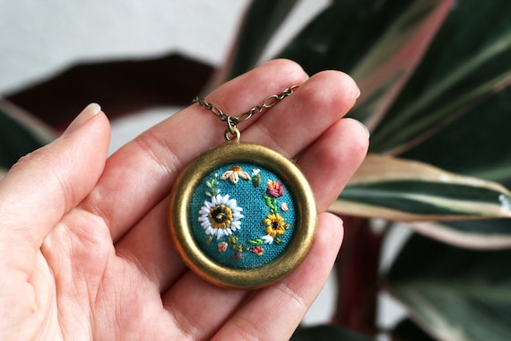 Wreath- hand embroidered necklace, delicate, floral, cheery, colorful