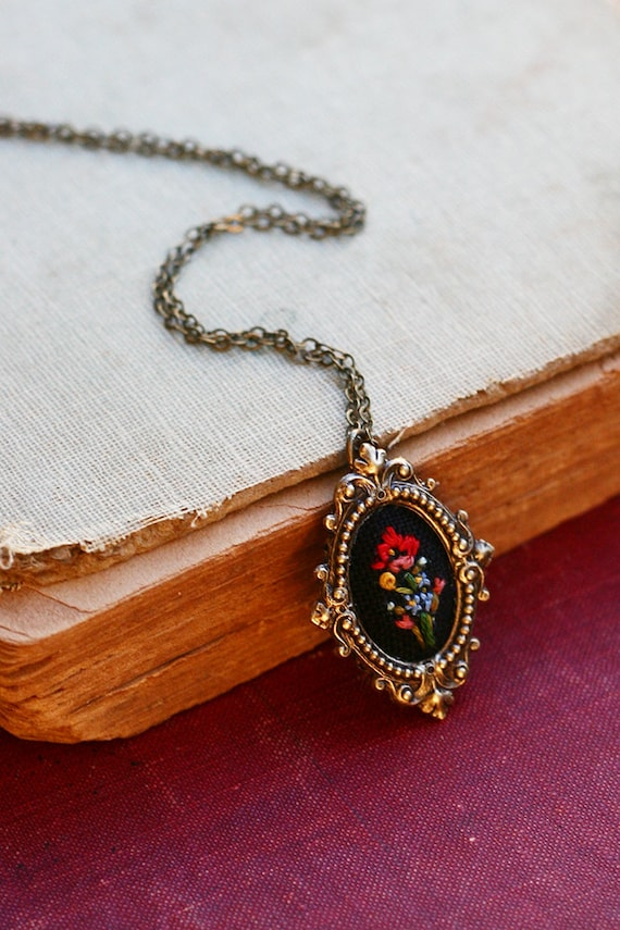 Little Poppy and Forget me nots- hand embroidered necklace, black, floral, wildflowers, flowers, red, blue, yellow