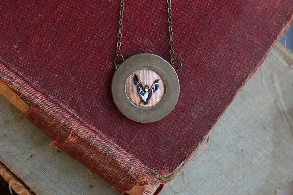 Bat- hand embroidered necklace, miniature, animal, flight