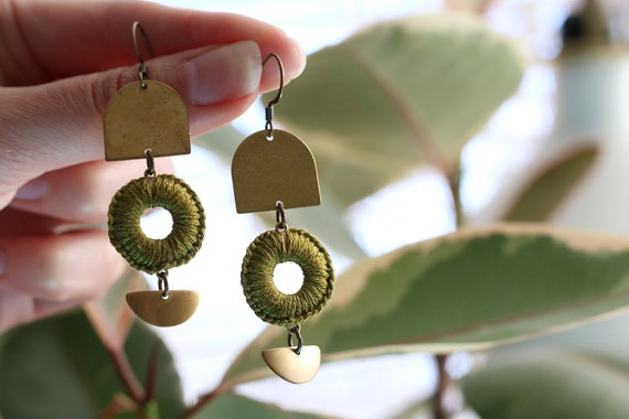 MAYA- thread wrapped statement earrings- fiber, statement