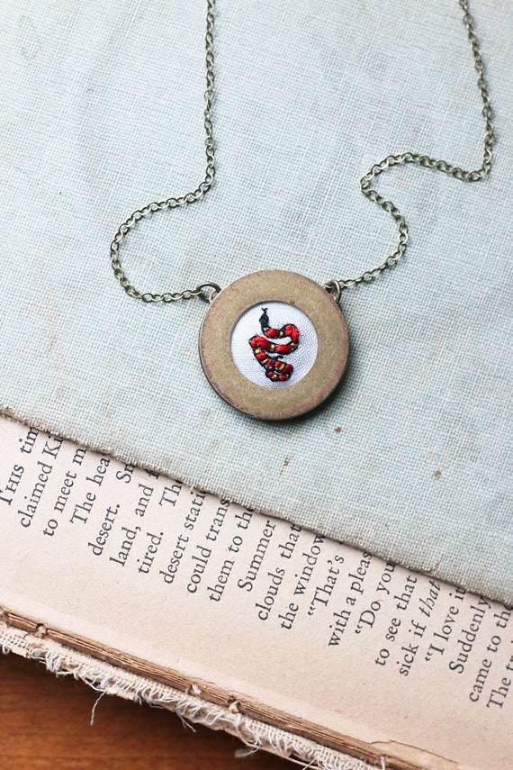 Snake- hand embroidered necklace, miniature, snake