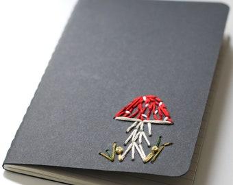 Toadstool- hand embroidered moleskine pocket notebook