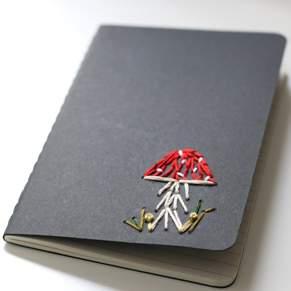 Toadstool- hand embroidered moleskine pocket notebook