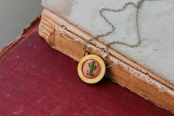Lil Cactus- hand embroidered necklace, cacti, succulent, desert, peach, orange