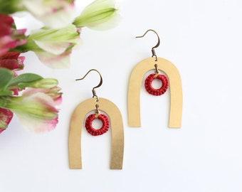 POLARIS- thread wrapped statement earrings- fiber, statement