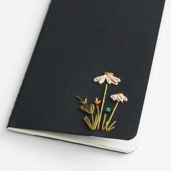 Daisies- hand embroidered moleskine pocket notebook