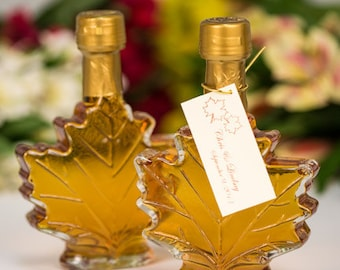 3a5accac130 Mansfield Maple-Maple Syrup Wedding Favors- Case of 24 (100ml Maple Leaf  Glass Bottle)