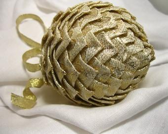 cream and gold lace unique ornamnet, Christmas keepsake ornament,
