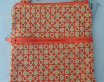Cross Body BAG, Small Shoulder Purse, Sling BAG, Zippered Purse, Travel Purse, iPad, Orange and Yellow Dots