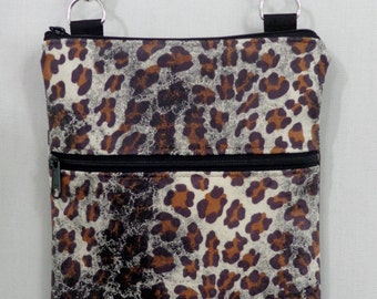 Cross Body BAG, Small Shoulder Purse, Sling BAG, Travel Purse,  Zippered Purse, iPad, Animal Print, Leopard Print