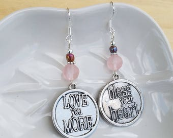 Bless Your Heart Earrings, Love You More Earrings, Bless Your Heart Sterling Silver Earrings, Pink Love You More Earrings