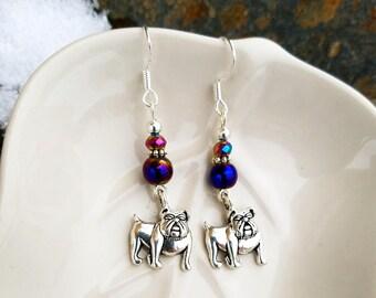 Purple Bulldog Sterling Silver Earrings, Silver Bulldog Earrings, Purple Bulldog Sterling Silver Earrings