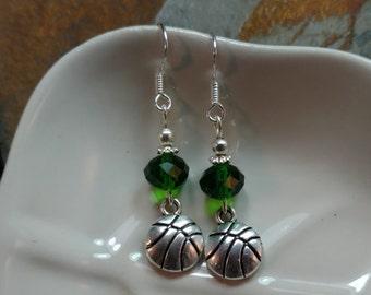 Green Basketball Earrings, Basketball Sterling Silver Earrings, Kelly Green Basketball Earrings, Green Basketball Sterling Earrings