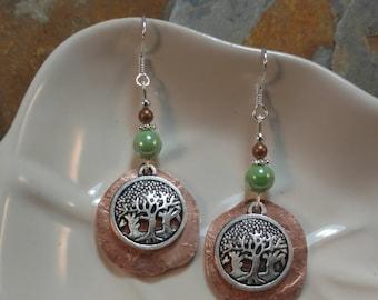 Copper Penny Forest Green Sterling Silver Earrings, Green Trees Sterling Earrings, Green Penny Tree Earrings