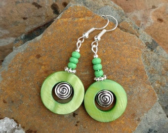 Green Shell Earrings, Lime Green Shell Spinner Silver Earrings, Green Shell Hoop Earrings,  Lime Green Earrings