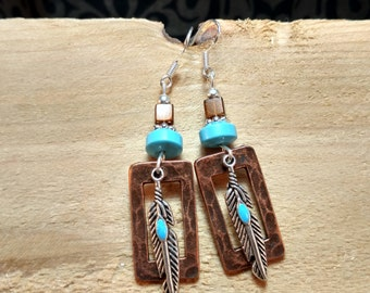 Turquoise Feather Copper Earrings, Feather Turquoise Sterling Silver Earrings, Silver Turquoise Copper Earrings, Turquoise Feather Earrings