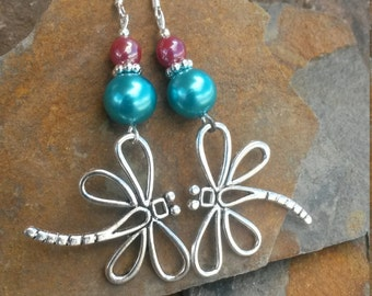 Dragonfly Earrings, Blue Dragonfly Sterling Silver Earrings, Blue Pearl Dragonfly Earrings, Big DragonflySterling Silver Earrings