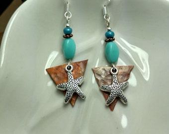 Blue Starfish Earrings, Blue Silver Starfish Copper Sterling Silver Earrings, Blue Starfish Earrings, Copper Starfish Sterling Earrings