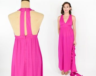 c733508bab 70s Hot Pink Halter Dress