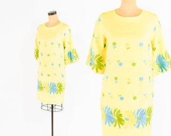 b207e0ea9949 60s Yellow Dress | Yellow Turquoise Floral Embroidered Summer Dress | Medium