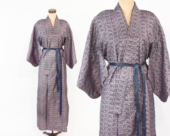 Long Kimono 40s Floral Kimono   Silk Wool Kimono R