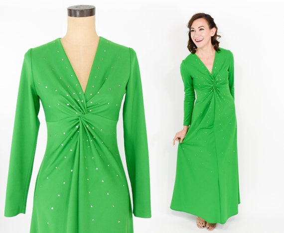 70s Green Rhinestone Dress | 1970s Lime Green Long